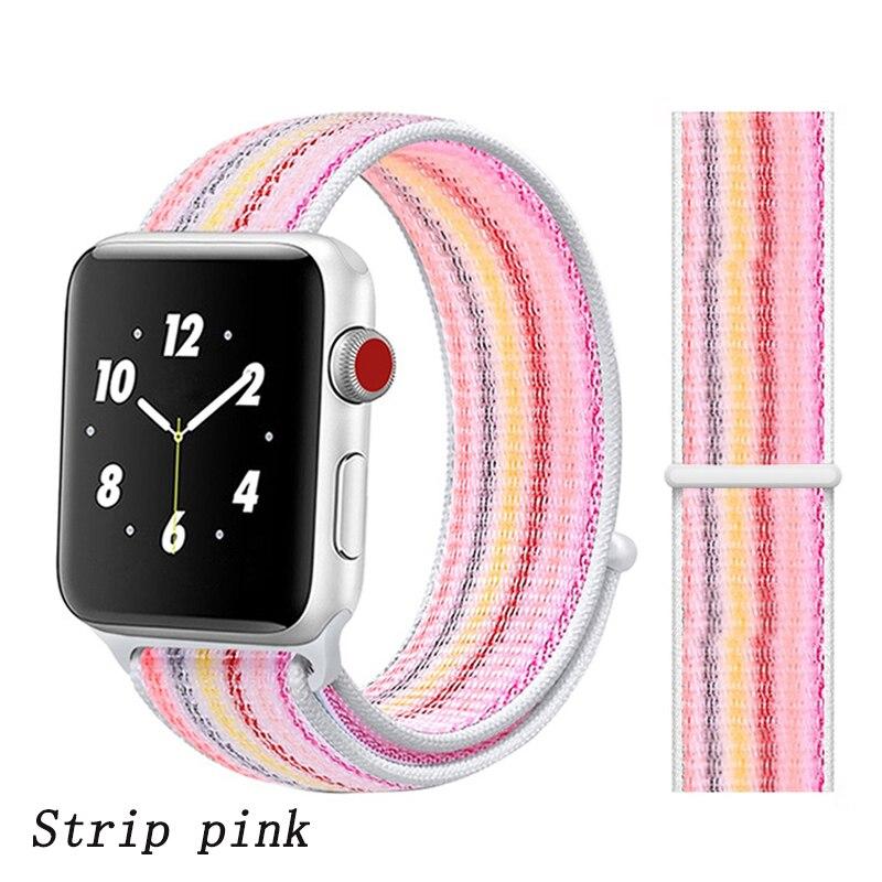 Спортивная петля ремешок apple watch band 42 мм 38 мм apple watch 4 3 band iwatch band 44 мм 40 мм correa pulseira 42 44 нейлоновый ремешок для часов - Цвет ремешка: strip pink 28