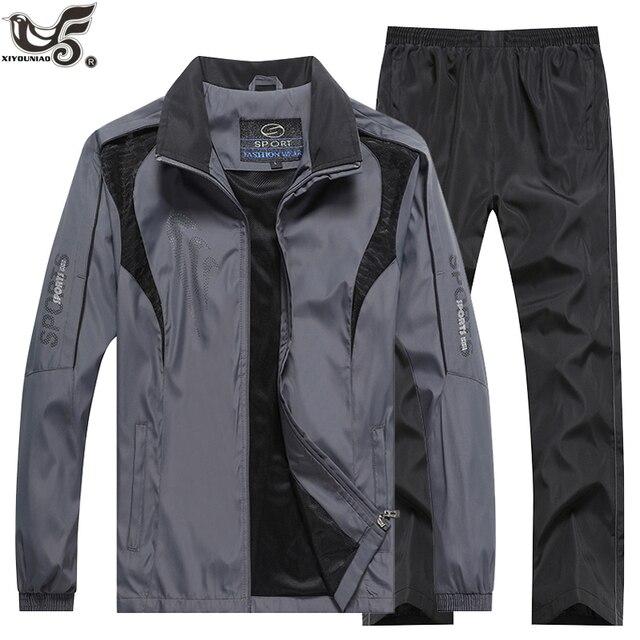 Marka eşofman erkek spor kazak + pantolon 2 adet giyim seti outwearTraining kursu eşofman joggers spor takım elbise erkekler