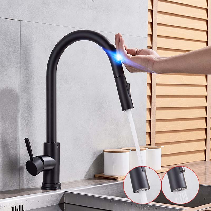 Смеситель для кухни 304 из нержавеющей стали Выдвижной сенсорный датчик Смеситель для ванной комнаты Смарт-индукционный смеситель для горяч...