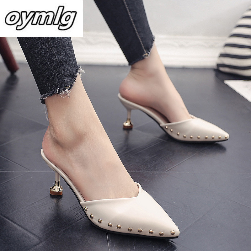 Thin Heels Women Shoes Rivet Solid Summer Sandals For Female Lady Girl Simple Casual High Street Pointed Toe Slip-on 2020New