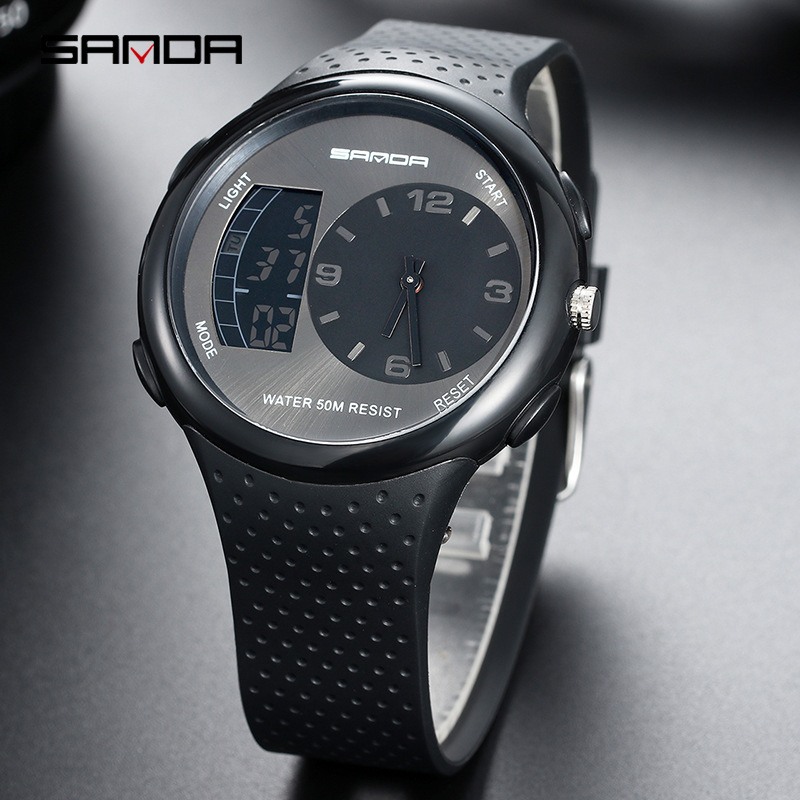 Clock Wristwatches Digital Sports Waterproof Sanda Men Relogio LED 763 Montre Male Femme