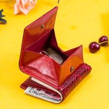 Contacts 100% billeteras de piel auténtica para mujer, titular de la tarjeta femenina, billetera de bolsillo para monedas, monedero pequeño, Carteira RFID