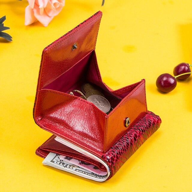 Kontakts 100% prawdziwej skóry kobiet portfele damskie etui na karty kieszonka na monety panie torebka portfel małe worki na pieniądze Carteira RFID