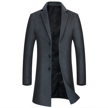 2020 Early Spring New Men's Plus Fat Increase Mid-length Wool Coat Middle-aged Business Casual Suit Collar Woolen Coat Overcoat