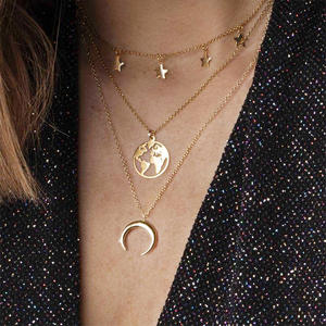 Chain Pendant Necklace Women's Crescent Jewelry Gift Gold Bohemian-Style Fashion World-Map