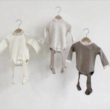 Ropa de primavera para bebé, bodies y monos para chica con cuello de encaje, Tops de manga larga para niña, blusa Camisa de algodón, ropa de bebé 2021