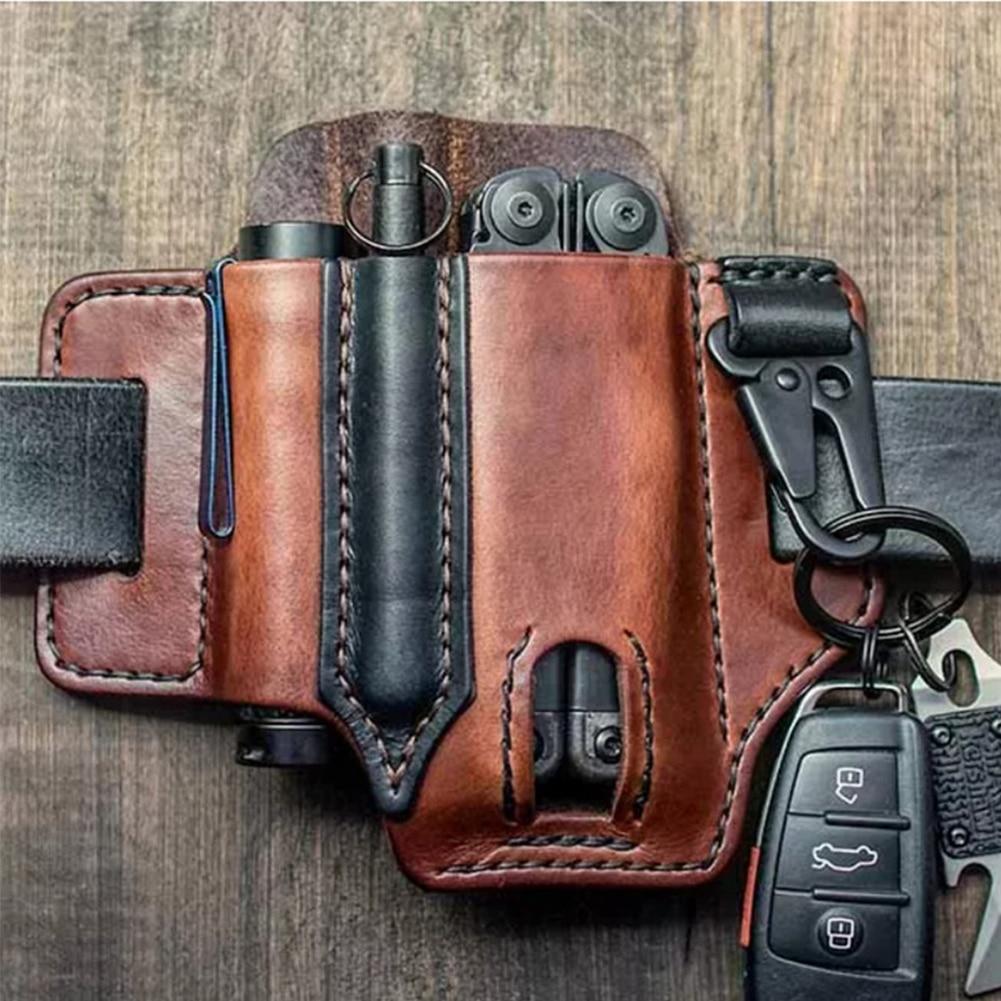Кожа оболочка для Leatherman мультитул ножны EDC карман органайзер с ключом держатель для ремня и фонарика для улицы кемпинга инструмента
