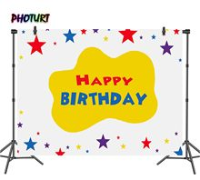 PHOTURT the Wiggles Backdrop Kids Birthday Party Background Golden Colors Star Vinyl Photo Banner Photography Props