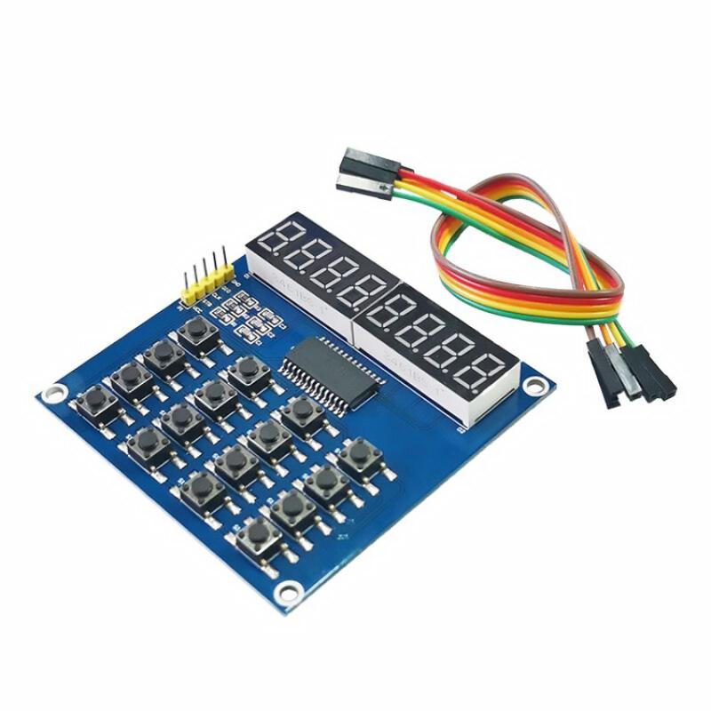 TM1638 Digital LED Display 8-Bit Digital Tube Board 3-Wire 16 Keys 8 Bits Keyboard Scan And KEY LED Module For Arduino molwei