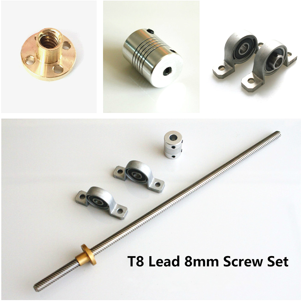 T8 Lead Screw 100mm 200mm 300mm 350mm 400mm 500mm 600mm 8mm With Nut+KP08 Bearing Bracket +5X8 Mm Flexible Coupling 3D Printer