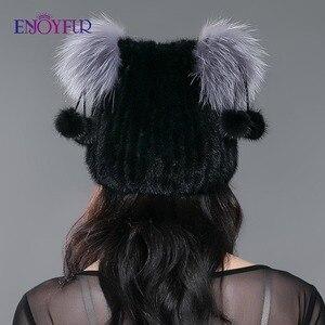 Image 5 - ENJOYFUR chapeau en fourrure véritable pour femmes, avec pom poms en fourrure, joli chapeau de style doreille pour chat, hiver et automne