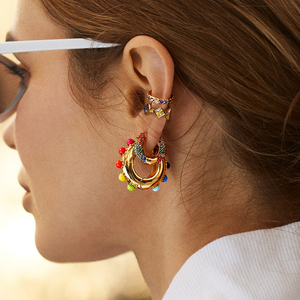 Women CZ Rainbow Earrings Cubic Zirconia Ear Cuff Set for Female Trendy Gold Huggie Clip on Earrings Earcuff Crystal Jewelry(China)