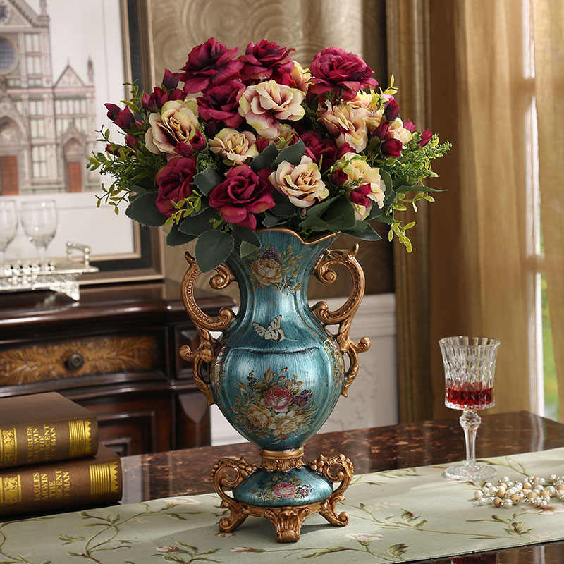 European Luxury Palace Resin Vase Ornament Home Desktop Figurines Crafts Decoration Wedding Gift American Retro Silk Flower Pot