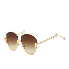 Damskie perłowe okulary przeciwsłoneczne bez oprawek półotwarte modne modne okulary przeciwsłoneczne modne uniwersalne okulary przeciwsłoneczne tanie tanio Anti-glare Polaryzacja Anti-Fog Anty-uv Pyłoszczelna Ochrona przed promieniowaniem Women Cat Eye Adult UV400