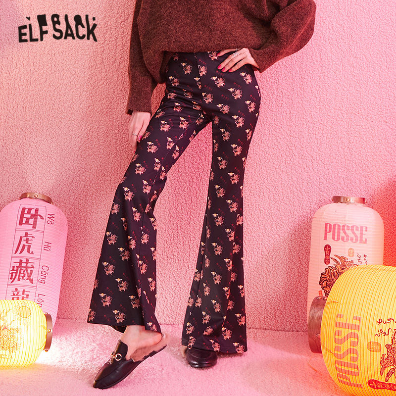 ELFSACK Black Kylin Print Wide Leg Flare Women Pants 2020 Winter New Chinese Style Vintage Lucky Loose Office Ladies Trousers