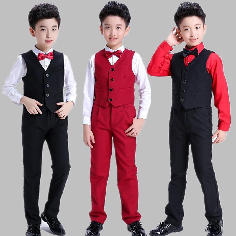 Children'S Stage Dance Suit Host Piano Costumes Handsome Boys Party Evening Performance Clothes Vest+Shirt+Pants+Tie DWY2061