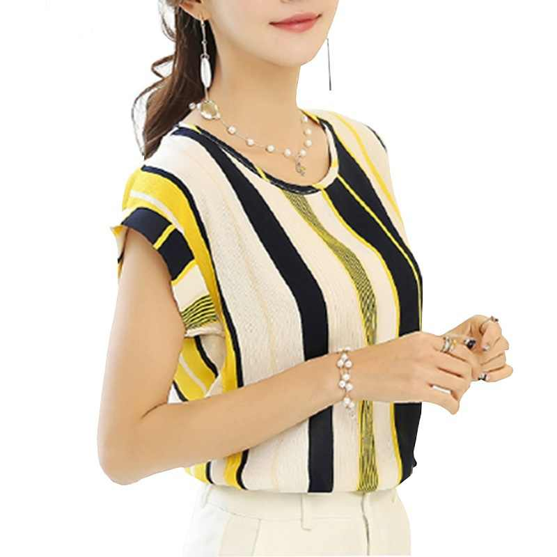 summer striped print chiffon blouse women 2020 casual shirts short sleeve o neck plus size vintage loose ladies blusas mujer