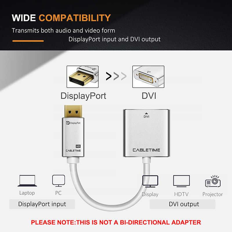 CABLETIME عرض ميناء إلى DVI محول الذكور إلى الإناث 1080P HD DisplayPort إلى DVI 24 + 5 ارشادية ل HDTV PC العارض C087