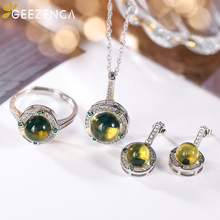 Natural Blue Amber S925 Silver Women's Jewelry Sets Ring Stud Earrings Pendant Zircons Elegant Trendy Fine Jewel Engagement Gift