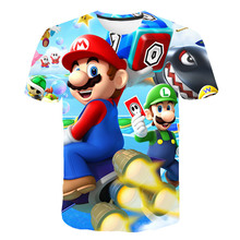 Latest Harajuku Classic Games Super Mario Child Boys and Girls T shirt Summer Bros 3D T-shirt Hip Hop Tops