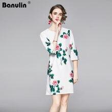 Женское мини платье с цветочным принтом banulin короткое трапециевидной