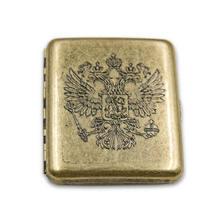 Kupfer Retro Königin Crown Russland Abzeichen Messing Legierung Zigarette Fall Box Rauchen Zubehör Herren Geschenk Mode Zigarette Box