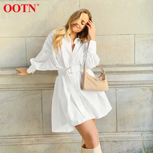 OOTN White Shirt Dress Women Batwing Sleeve Loose A Line Sho