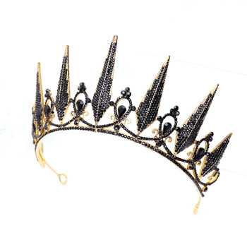 Vintage Black Crystal Crown Tiara