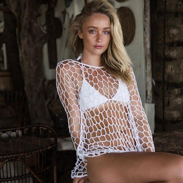 Sexy Mesh Crochet Fishnet Beach Tunic - Bikini Cover Up  5