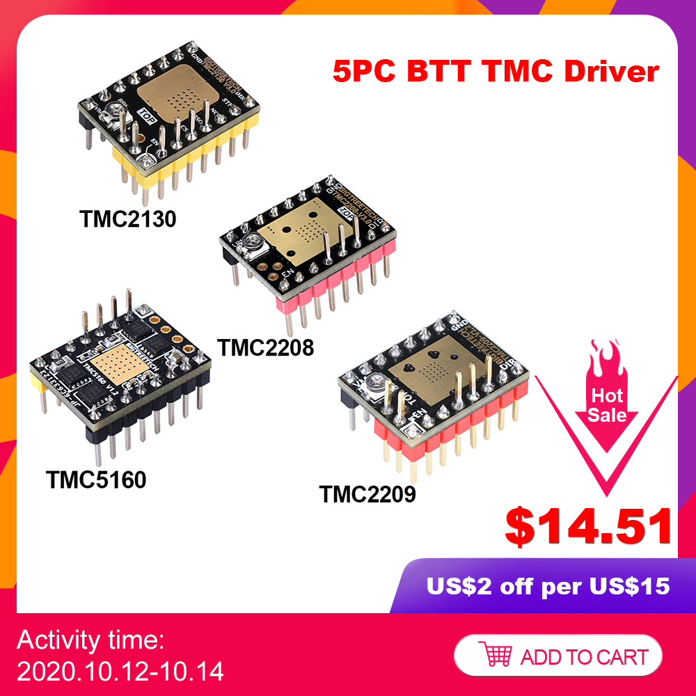 5PCS BIGTREETECH TMC2209 TMC2208 TMC2130 TMC5160 Stepper Motor Driver 3D Printer Parts For SKR V1 4 ramps 1 4 Mini e3 ender 3