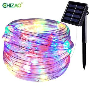 CHIZAO 100 LEDs Neon Rope Tube Strip Light Wire Flexible Remote Battery Power Waterproof Outdoor Indoor Decor Christmas Party
