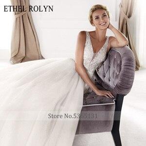 Image 3 - ETHEL ROLYN Sexy dekolt w szpic Vintage suknia ślubna 2020 romantyczny zroszony aplikacje A Line suknie ślubne z tiulu Vestido De Noiva