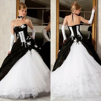 Vintage Black And White Wedding Dresses 2020 Ball Gowns Hot Sale Lace Up Corset Victorian Gothic Plus Size Piping Bridal Gowns