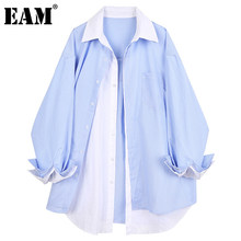 [EAM las mujeres rayas contrato Color de gran tamaño blusa solapa nueva manga larga camisa holgada de marea de la Moda de Primavera otoño 2021 1DD5258
