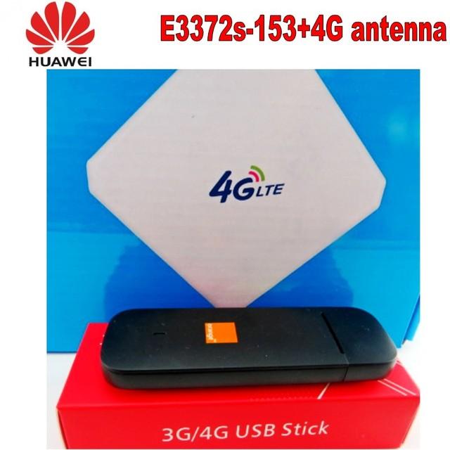 100pcs Unlocked Huawei e3372s-153 4G LTE USB Dongle USB Stick Datacard Mobile Broadband USB Modems 4G antenna 4