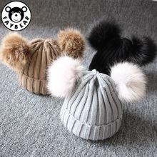 Newborn Baby Winter Cap Kids Warm Knit Hat Furry Balls Girls Boy Pompom Solid Warm Cute Lovely Beanie Cap Gifts цены