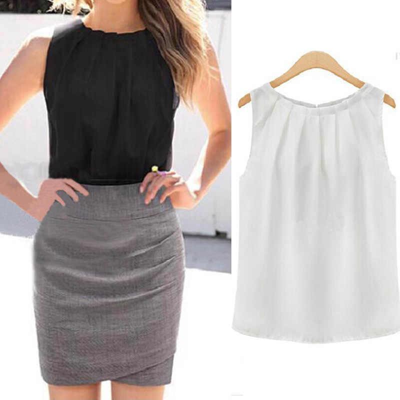 Damskie biały czarny topy bluzki bez rękawów czarna koszula bluzki O-Neck plisowana styl lato Hot Dropship na co dzień