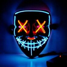 Хэллоуин неоновый светодиодный маска Детский костюм для вечеринок продувки маски выборов Косплэй костюм светодиодный DJ вечерние светильник вверх, тушь для ресниц и бровей светятся в темноте 42 Цвета