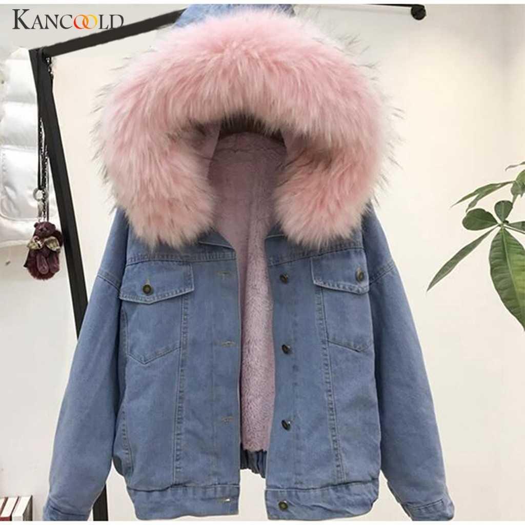 KANCOOLD jacke Hohe Qualität samt dicke Dünne Denim jacke große pelz kragen Koreanischen Cowboy Outwear mantel Mit Kapuze Denim Feminine 09