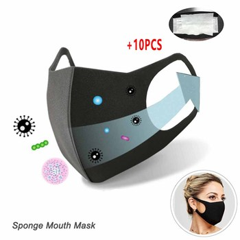 11pcs Cotton PM2.5 Black mouth Mask anti dust mask pad Activated carbon filter bacteria proof Flu Face mascherine antivirus mask