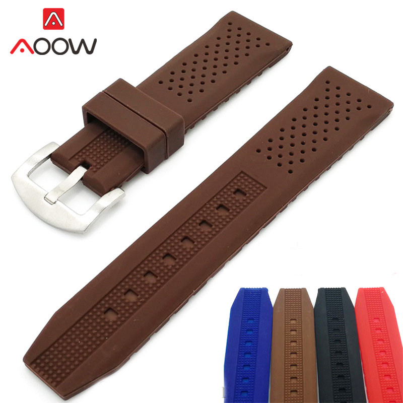 Universal Silicone Sport Strap Watchband 18mm 20mm 22mm 24mm Waterproof Rubber Replacement Bracelet Band Belt Watch Accessories