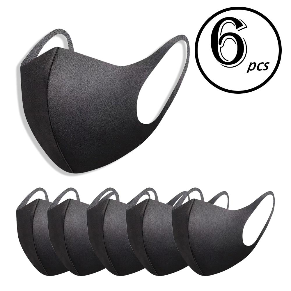 6pcs Washable Mask Elastic Earloop Face Masks Masque Breathing Mask Reusable Anti Dust Mouth Mask Fashion Black Mask For Adults