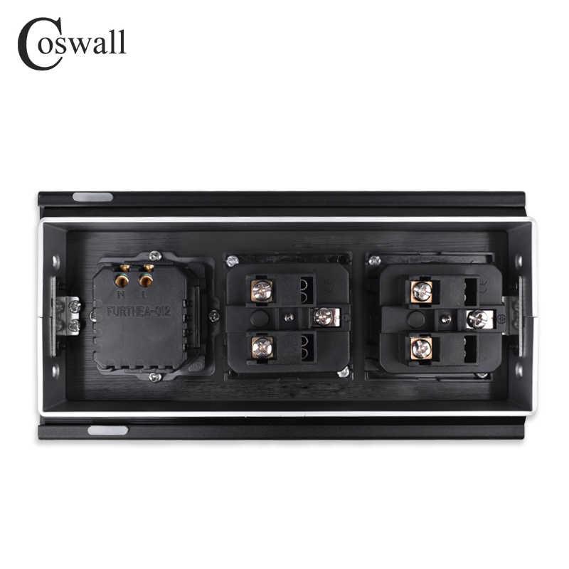 COSWALL wszystkie płyta ze stopu aluminium typ przesuwny ukryte 2 gniazdo ue Dual USB port ładowania stół biurowy wylot matowy czarna okładka