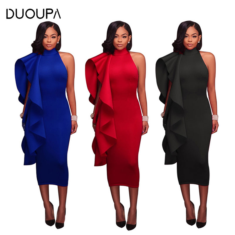 DUOUPA 2019 Solid Color Sexy Fashion Strapless Halter Bow Ladies Ruffled Midi Dress New Womens Clothing