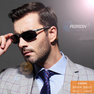 Image 5 - AORON sürüş polarize güneş gözlüğü alüminyum çerçeve spor güneş gözlüğü erkek sürücü Retro gözlük gözlük UV400 parlama önleyici