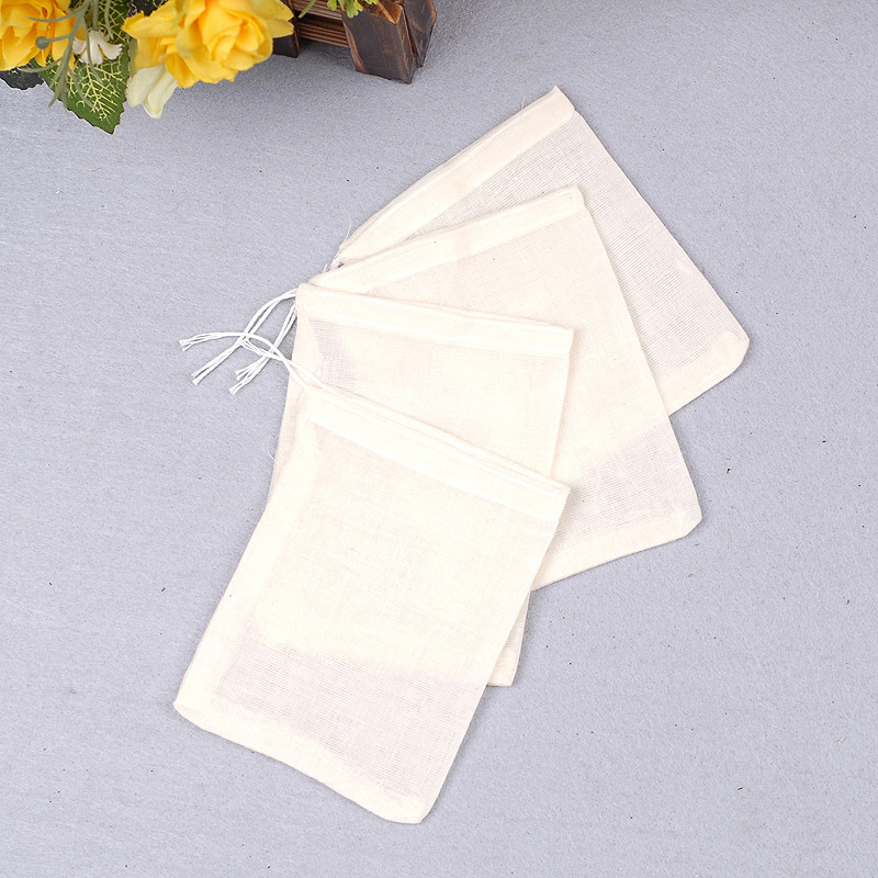 10Pcs Large Teabags 8x10CM Cotton Muslin Drawstring Reusable Bags For Soap Herbs Tea Empty Filter Bags For Cooking Kitchen Tool