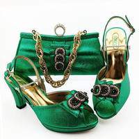 New Fashion Green Color African Ladies Shoe Matching Bag Set Italian Super High Heels Mature Style Shoe and Bag to Match