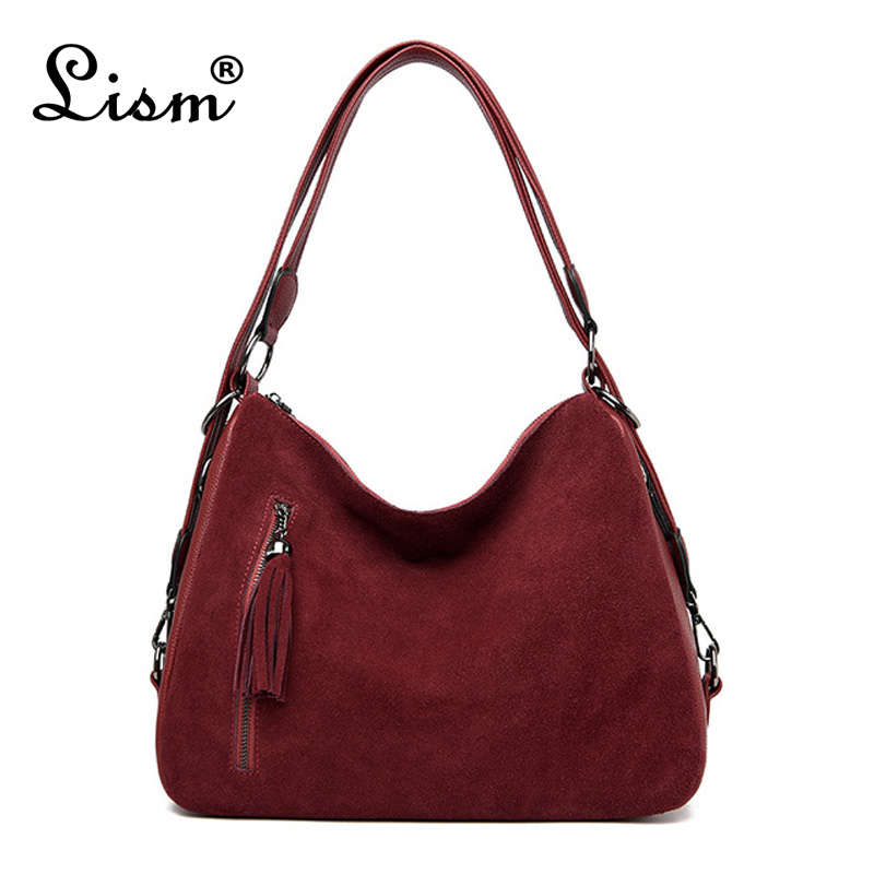 Women's PU Stitching Suede Leather Shoulder Bag Female Casual Nubuck Casual Handbag Hobo Messenger Bag Handbag