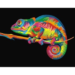 Bild durch zahlen GX 26199 regenbogen chamäleon 40*50
