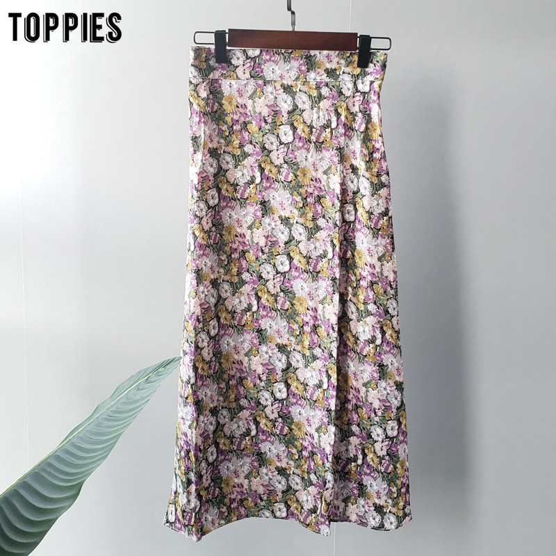 Toppies 2020 Summer Oil Painting Skirts Elastic Waist Midi Skirts Korean Fashion Streetwear High Waist Faldas